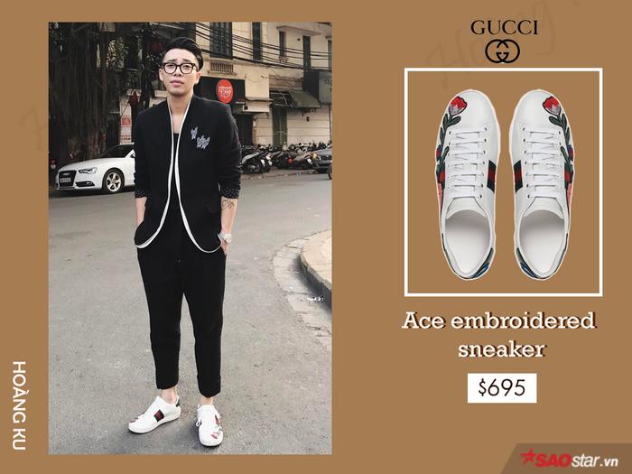 """Các nam thanh nữ tú, từ giới siêu sao đến các fashionista, ai ai cũng xem phụ kiện Gucci như một """"must-have item"""". Không nằm ngoài xu hướng, Hoàng Kulà tín đồ đích thực của đôi sneaker đang """"gây bão"""" trên khắp đường phố Việt Nam."""