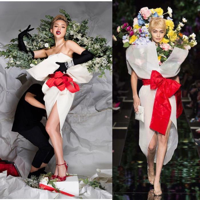 """Trước đó, ca sĩ Tóc Tiên đã chia sẻ những hình ảnh cô từng diện cách đây 1 năm với ý tưởng """"tuy 2 mà 1"""" giống y như thiết kế của nhà mốt Moschino. Tóc Tiên cho biết đây là bộ trang phục cô từng mặc khi làm việc với ê-kíp của ELLE Việt Nam một năm về trước."""