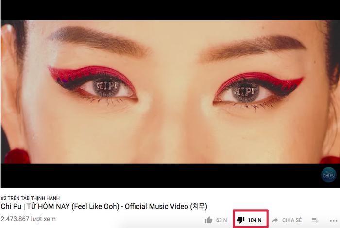 Sau 3 ngày, đã có hơn 104.000 dislike dành cho MV Từ hôm nay trên Youtube.