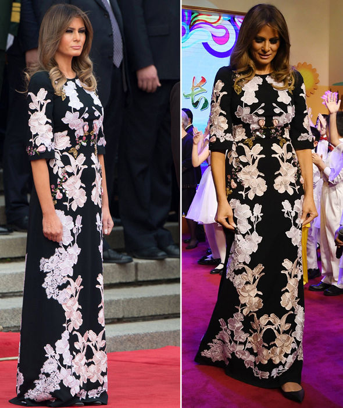 Chiếc váy thêu hoa đến từ nhà mốt Italy Dolce&Gabbana trị giá 3000 USD được bà Melania diện tại lễ đón chính thức ở Trung Quốc.