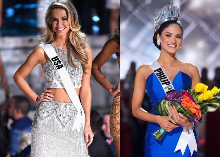 Hoa hậu Mỹ và Hoa hậu Hoàn vũ Thế giới 2015người Philippines Pia Wurtzbach.