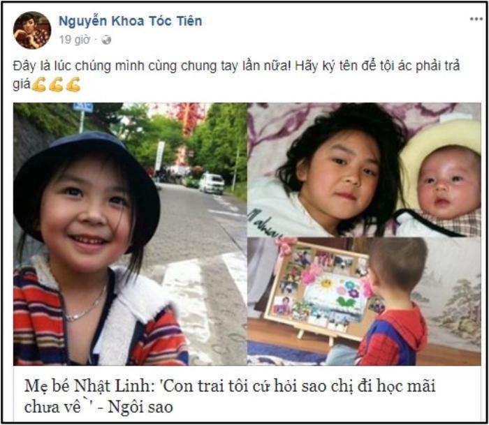 Minh Như kêu gọi bạn bè trên đất Mỹ ký tên đòi công bằng cho bé Nhật Linh