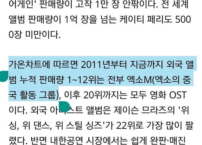 Dòng đề cập tới EXO-M trên báo chí của Gaon.