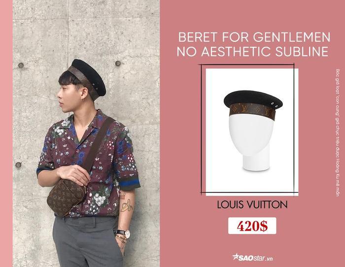 Hoàng Ku từng thừa nhận, đây là chiếc mũ beret đầu tiên mà anh chàng từng sử dụng. Với thiết kế khá thú vị, anh chàng phối món phụ kiện này cùng áo sơ mi hoa và quần tây, đem đến nét lịch lãm. Chiếc mũ này trị giá 420$, tầm 9,6 triệu đồng.