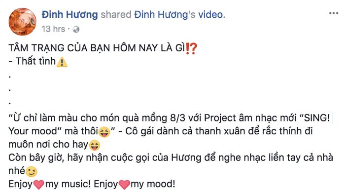 """Cùng với những chia sẻ sâu sắc này, Đinh Hương lại khá hài hước khi nói về tâm trạng hiện tại trong ngày 8/3 rằng: Cô đã… thất tình! Nhưng thực ra, đây chỉ là một chiêu để """"rắc thính"""" muôn nơi từ cô nàng này thôi."""