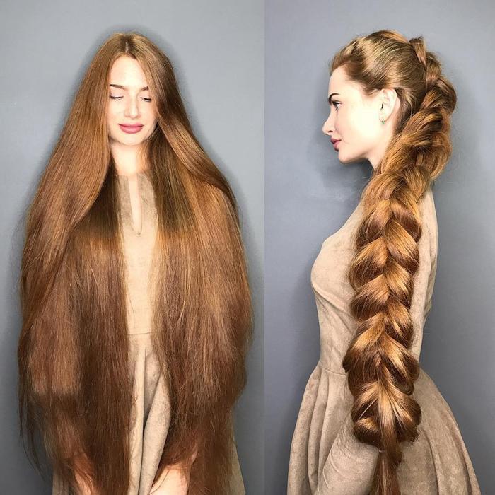 Với mái tóc dài 106 cm, dù để xõa hay thắt bím gọn gàng, cô nàng đều trông như phiên bản Rapuzel ngoài đời thực.