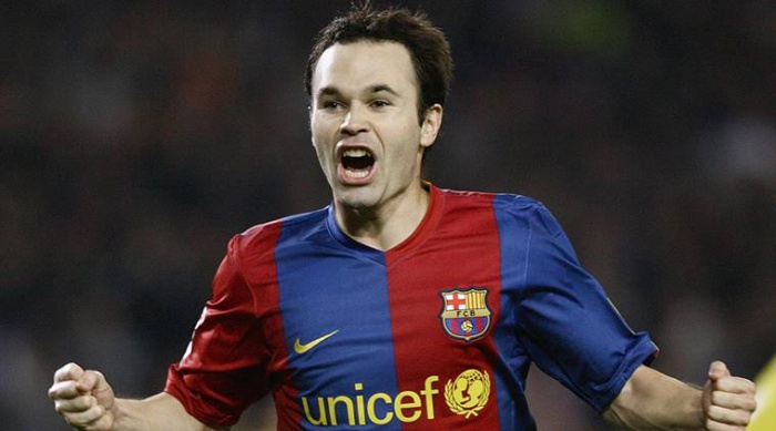 "FILE – In this Saturday, Nov. 25, 2006 file photo FC Barcelona player Andres Iniesta celebrates his goal against Villarreal during his Spanish League soccer match at the Camp Nou stadium in Barcelona, Spain. Andres Iniesta says that he will leave Barcelona this summer after 16 trophy-packed seasons with the Spanish club. Iniesta, who turns 34 on May 11, says Friday ""this season is the last."" (AP Photo/Manu Fernandez, File)"