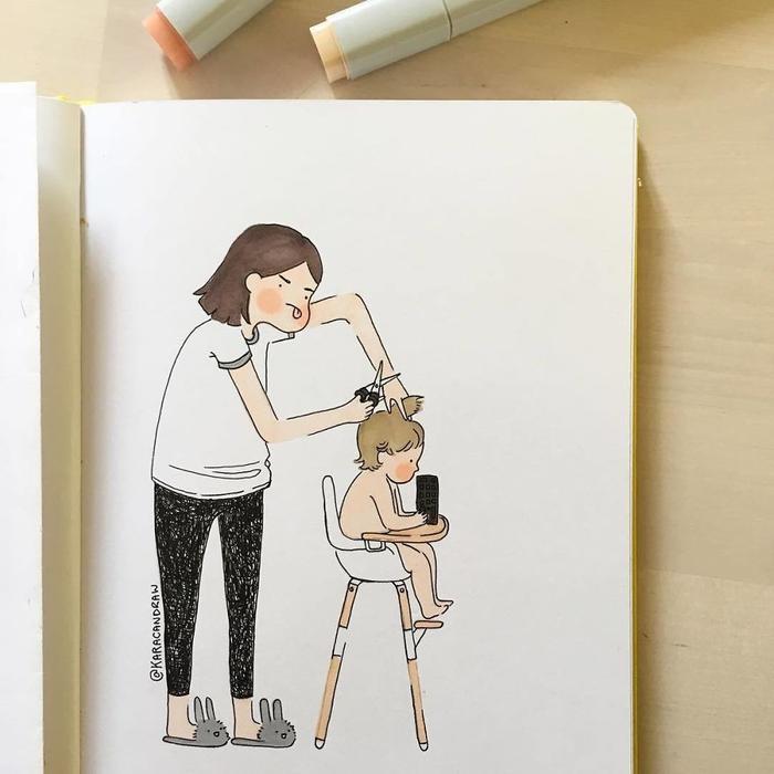 Trở thành thợ cắt tóc đầu đời của con, đồng thời phải học cách để con ngồi yên, tránh bị cắt vào tai.