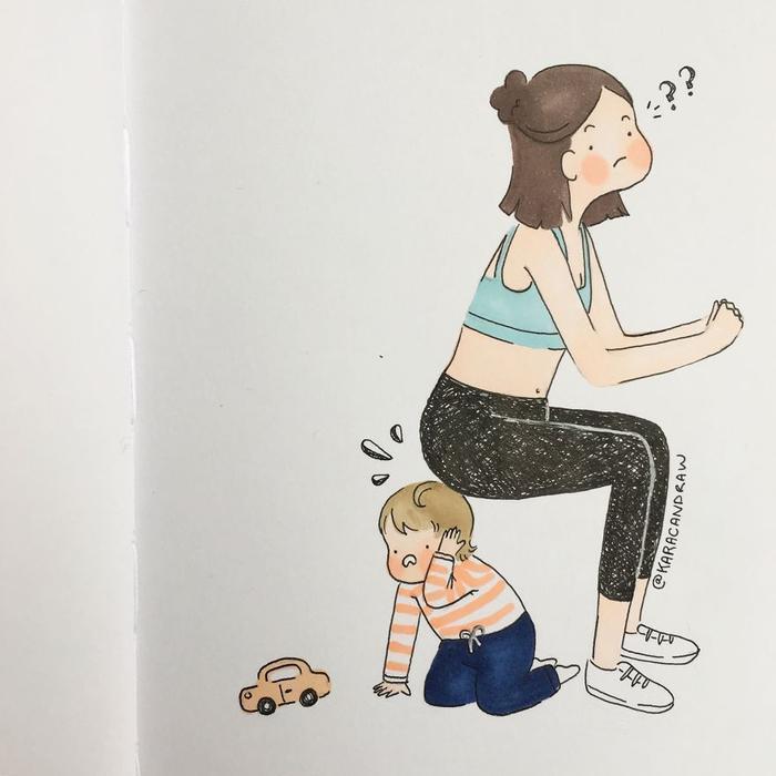 Việc tập thể dục không còn như trước nữa một khi mẹ đã có em…