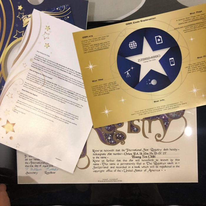 Hoàng Yến Chibi xúc động khi fan từ Mỹ gửi tặng ngôi sao mang tên mình ảnh 5