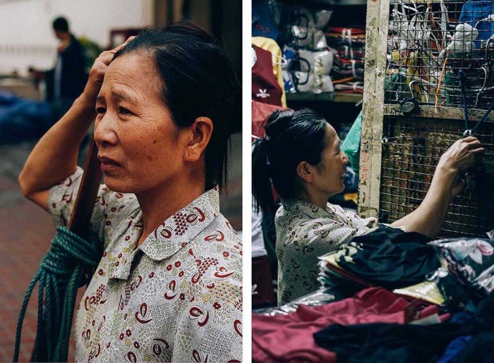 """Bà Lê Thị Hường (50 tuổi) từ Nam Định đến Hà Nội làm công việc này cũng gần chục năm. Bà chia sẻ: """"Ở quê làm không đủ ăn nên tôi với chồng nhận bốc vác hàng ở đây. Có ngày tôi kiếm được vài ba trăm nghìn đồng. Hôm không có ai thuê bốc hàng, tôi đi dọn hàng thuê cho một chủ tiệm được công 30.000 đồng. Ban đêm tôi cũng đi bốc hàng ở chợ Long Biên""""."""