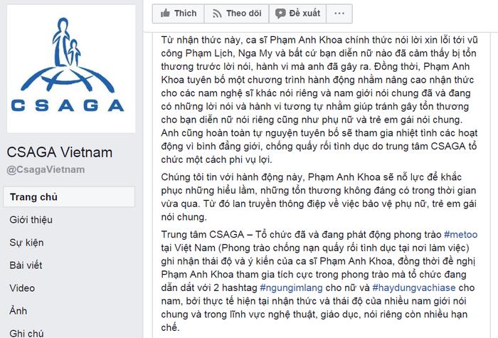 Lời xin lỗi và các hoạt động tiếp theo của Phạm Anh Khoa liên quan đến CSAGA được Fanpage chính thức của tổ chức đăng tải. Ảnh chụp màn hình.