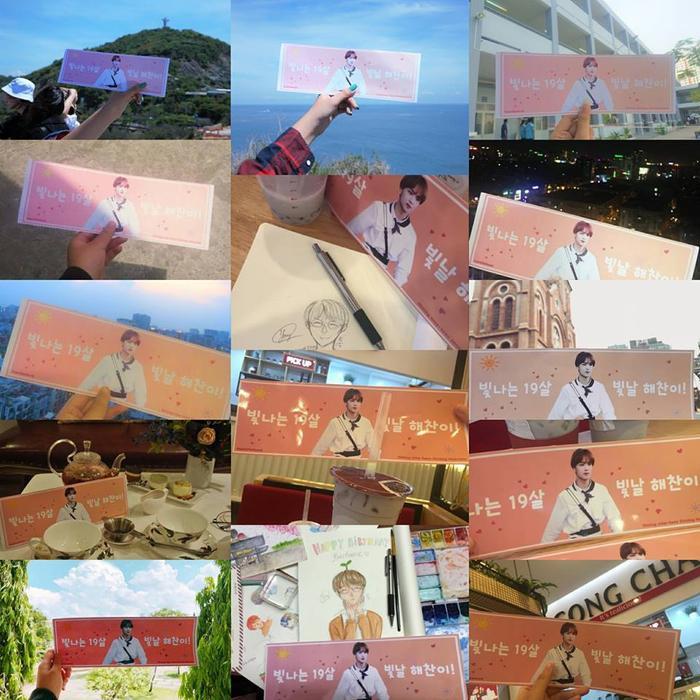 """Mở đầu project là hoạt động """"đưa thần tượng đi khắp thế gian"""", với những chiếc banner được mang đến nhiều nơi, checkin và viết nên những điều ước tốt đẹp nhất gửi đến anh chàng, việc này cũng sẽ giúp hình ảnh của Haechan phổ biến hơn."""