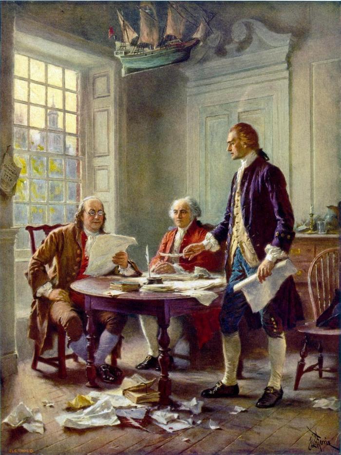 5. 3 vị Tổng thống qua đời vào ngày 4/7 (Quốc khánh Mỹ) gồm John Adams, Thomas Jefferson năm 1826 và James Monroe năm 1831. Trong ảnh, bức tranh Tổng thống John Adams và Thomas Jefferson được trưng bày tại Thư viện Quốc hội Mỹ. Ảnh: AFP