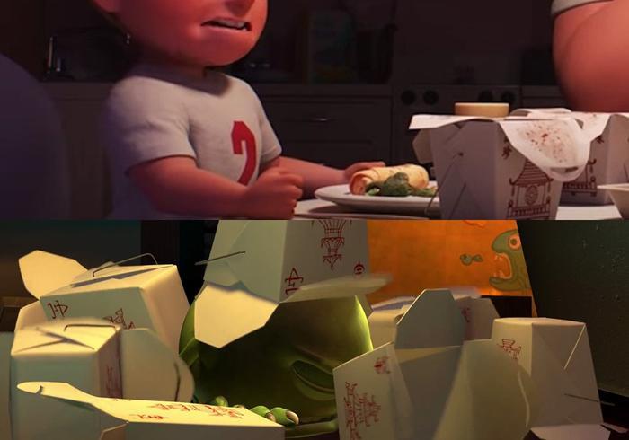 Hộp đồ ăn Trung Quốc là nét đặc trưng thường thấy trong các phim của Pixar.