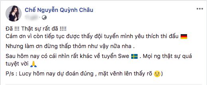 Sao Việt nói gì trước kết quả trận đấu giữa Đức - Thuỵ Điển?