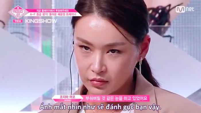 Ánh mắt khiến các thực tập sinh khiếp sợ của cô Bae.