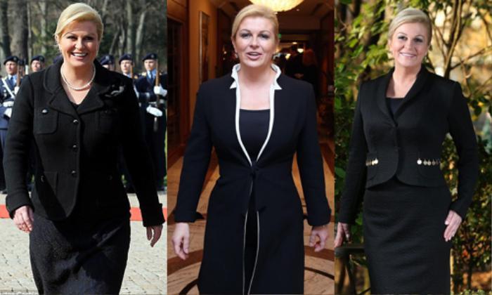 Bà cực kì ưa chuộng màu đen vừa sang trọng vừa giúp bà thon gọn hơn bình thường. Với tính chất nghề nghiệp, tủ quần áo tràn ngập các trang phục menswear thể hiện sự quyền lực.