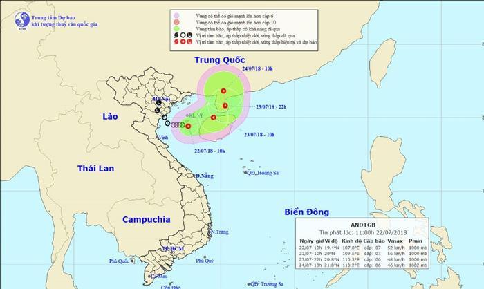 Vị trí và hướng đi của áp thấp nhiệt đới. ẢnhTrung tâm dự báo Khí tượng Thủy văn Quốc gia.