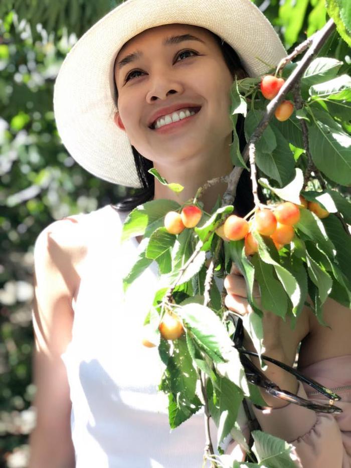 Cách đây mấy ngày, Dương Mỹ Linh cũng khoe nhan sắc cùng nụ cười rạng rỡ bên những chùm cherry sai trĩu quả.