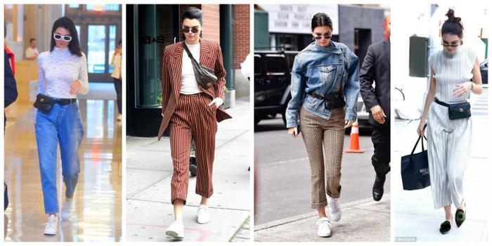 Kendall hầu như có cả một bộ sưu tập túi belt bag để cô có thể thay đổi style hàng ngày.
