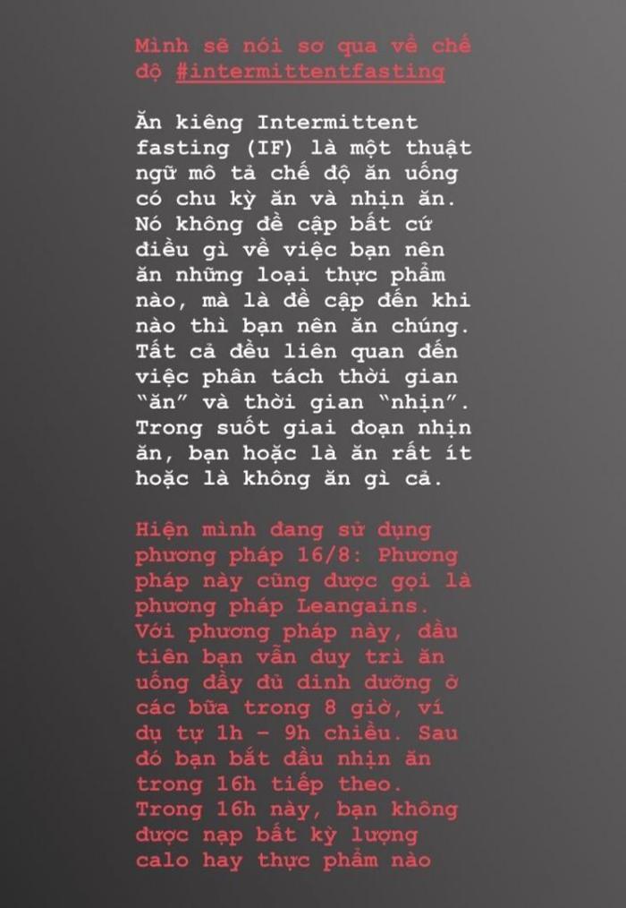 Thay vì kiêng hem khổ sở, Yến Trang ăn thả ga trong 8h và nhịn trong 16h kế tiếp để sở hữu body vạn người mê ảnh 0