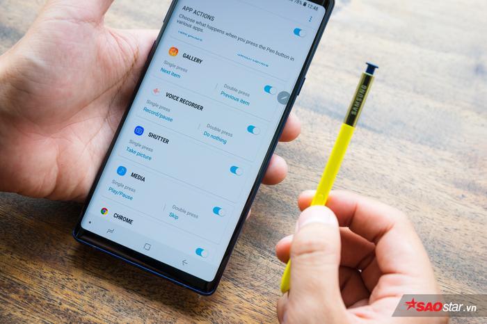 Danh sách các ứng dụng hỗ trợ với từng thao tác bấm trên S Pen để người dùng tiện sử dụng