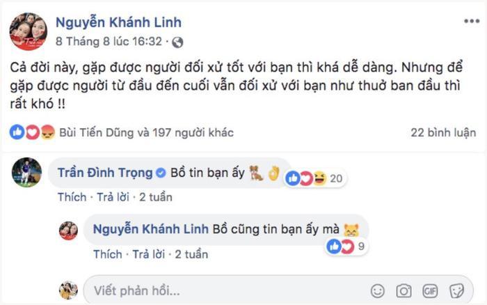 Trần Đình Trọng – cầu thủ thân nhất với chàng trung vệ cũng từng để lại bình luận tại trang cá nhân của Khánh Linh.