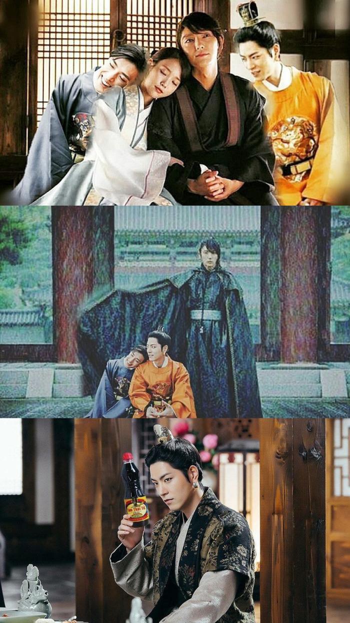 """Chết cười với những mối quan hệ vô cùng phức tạp trong hậu cung phim """"Moon Lovers"""". Tam hoàng tử thực sự đang cầm chai nước tương Tam thái tử."""
