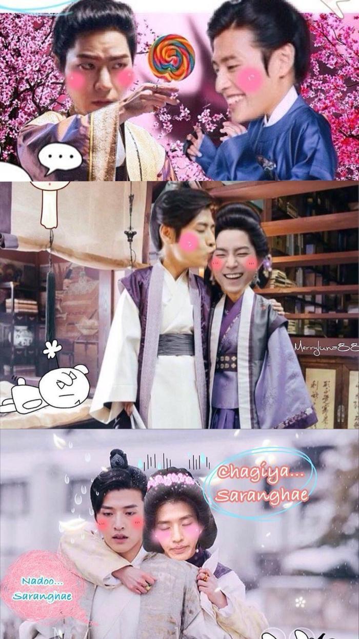 """Anh Tam và anh Bát đáng yêu quá kìa. Vietsub bức ảnh dưới cùng: """"Anh yêu à…em yêu anh"""", """"Anh cũng… yêu em nữa""""."""