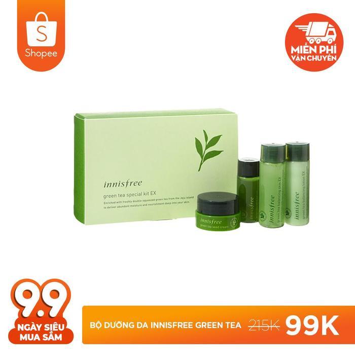 Sắm son xinh rồi thì hãy mua ngay bộ dưỡng da Innisfree green tea giá 99.000 đồng (giá gốc 215.000 đồng).