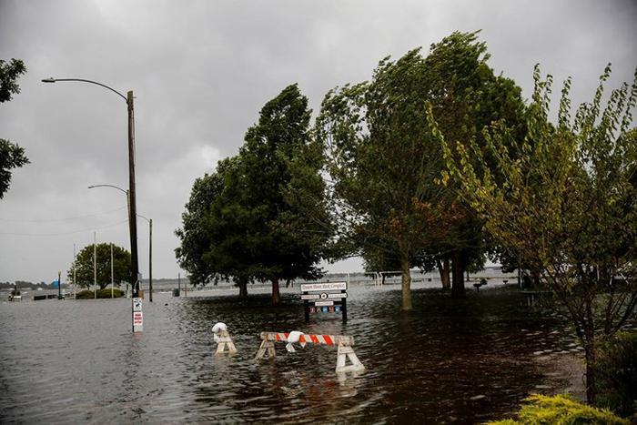 Công viên ở bang South Carolina bị ngập nước do ảnh hưởng của bão Florence. Ảnh: AP