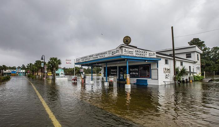 Nước từ các sông Wakulla và Saint Marks dâng cao, làm ngập nhiều khu vực tại thị trấnSaint Mark. Sau khi đổ bộ Florida, bão Michaelsẽ quét qua toàn bộ miền đông nam nước Mỹ và hướng ra Đại Tây Dương. Ảnh: Daily Mail