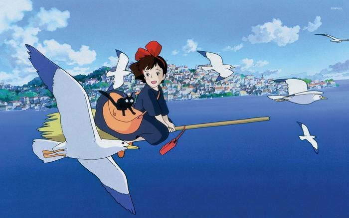 Chú mèo đen đáng yêu và chiếc chổi bay thần kỳ luôn đồng hành cùng cô nàng phù thủy Kiki trên mọi nẻo đường.