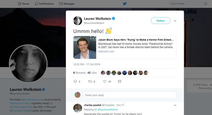 """Lauren Wolkstein bất bình trước bài báo Jason Blum """"cố gắng"""" hợp tác với đạo diễn nữ trước đó."""