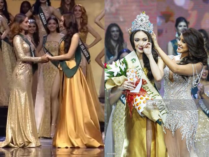 """""""Crowning Moment"""" của Hoa hậu Trái đất 2017 - Karen Ibasco cũng ứng nghiệm với """"lời nguyền nắm tay""""."""
