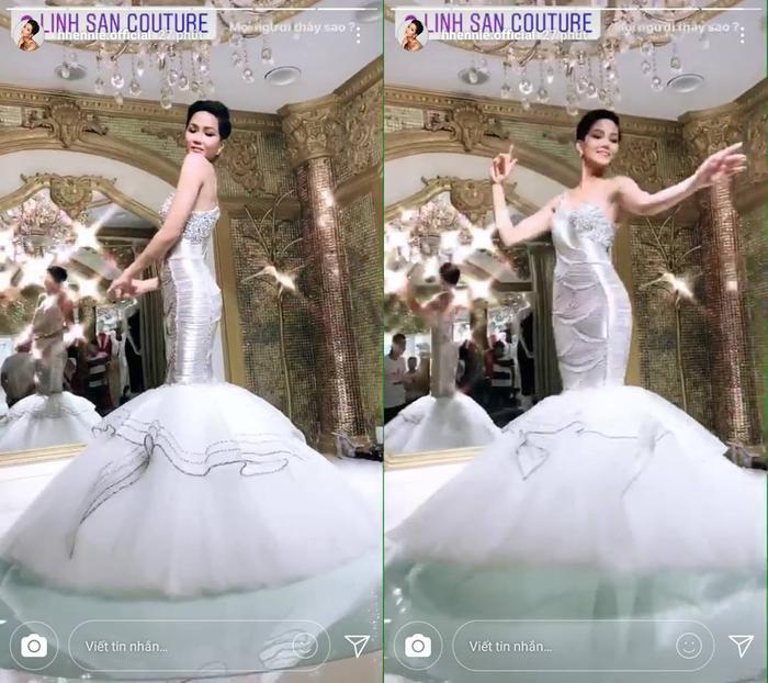 Váy dạ hội mới tôn dáng và khiến H'Hen Niê như một nàng công chúa.