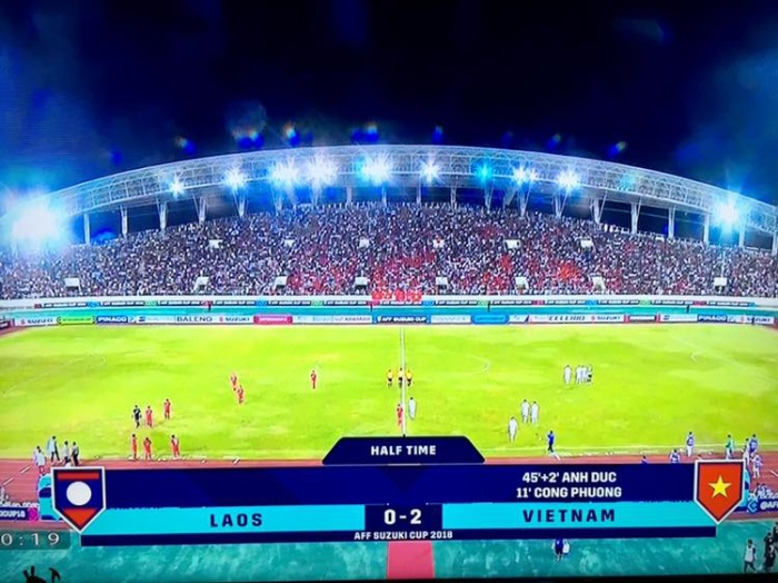 Hiệp 1 kết thúc. ĐTVN dẫn 2-0 trước Lào.
