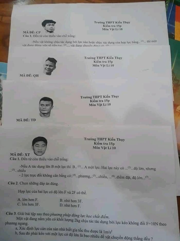 Đề thi Vật Lý với mã đề là các cầu thủ nổi tiếng của đội tuyển U23 Việt Nam