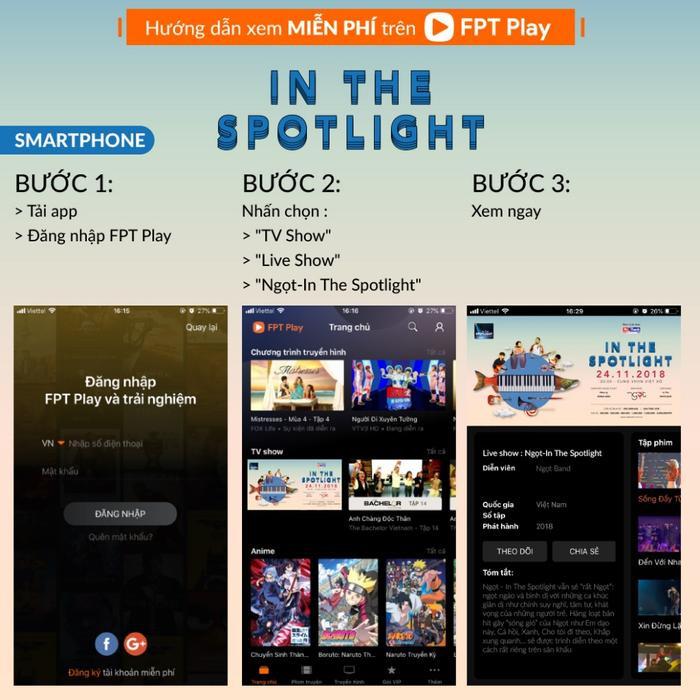 Hướng dẫn xem miễn phí liveshow Ngọt - In The Spotlight trên smartphone và máy tính bảng.