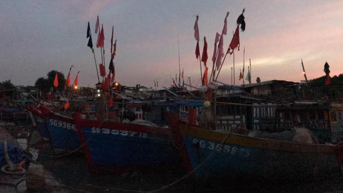 Phương tiện đánh bắt hải sản cũng đã neo đậu vào bờ an toàn.