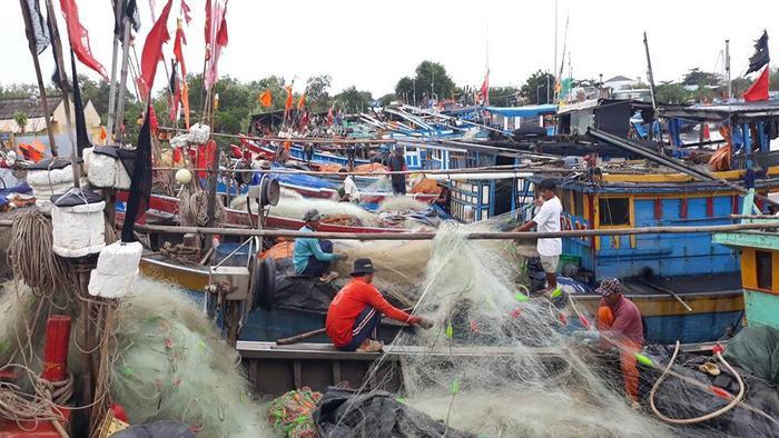 Ngư dân kiểm tra lại tàu thuyền trước khi sơ tán.