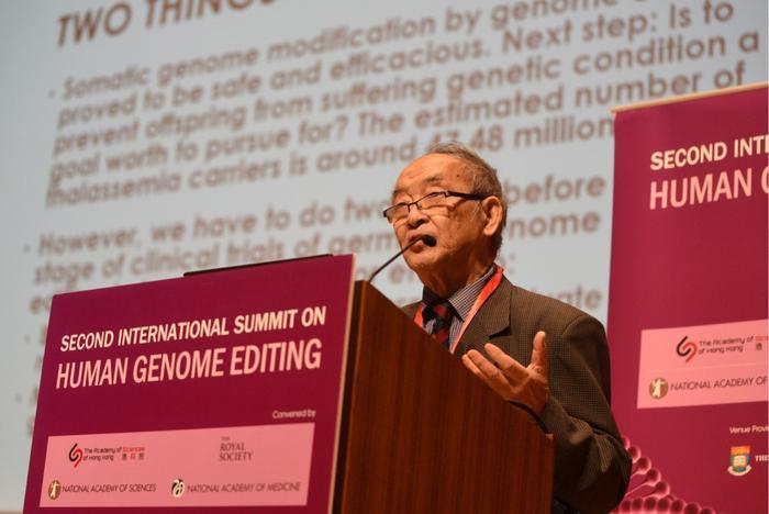 Ông Khâu Nhân Tông, cựu phó chủ tịch Ủy ban Đạo đức của Bộ Y tế Trung Quốc, tại hội thảo quốc tế về điều chỉnh gen người ở Hong Kong. Ảnh: HK Daily.