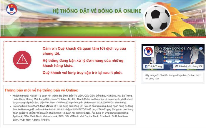 Tiếp tục bán vé trận Việt Nam gặp Philippines nhưng website của VFF cũng chẳng khá hơn hôm qua
