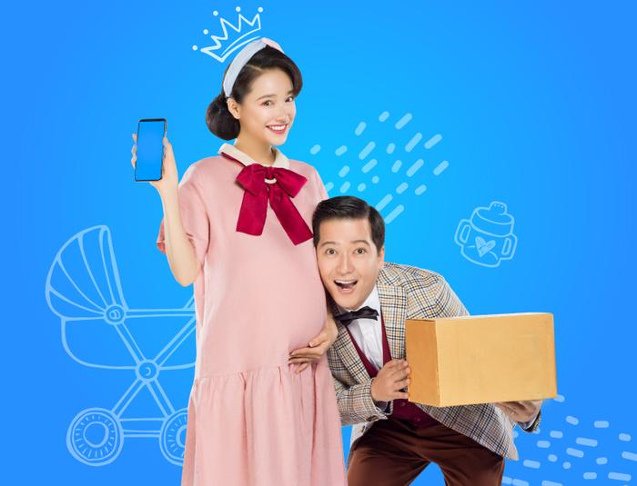 Nhã Phương và Trường Giang trong một bộ ảnh quảng cáo.