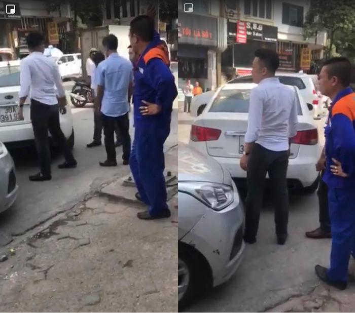 Sau va chạm, nam thanh niên áo trắng đã xuống đánh tài xế taxi. Ảnh cắt từ clip.
