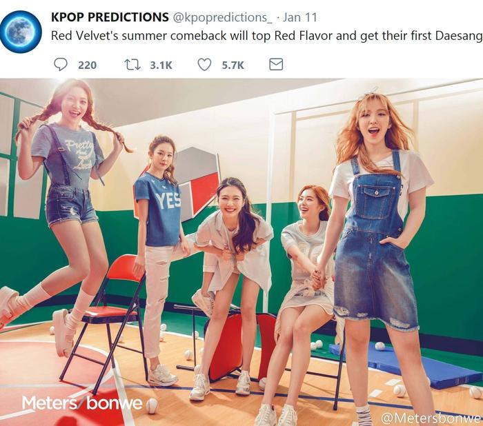 Red Velvet sẽ comeback vào mùa hè và giành giải Daesang đầu tiên với ca khúc này. Và lời tiên đoán đã đúng một nửa, hãy cùng chờ xem những lễ trao giải cuối năm có xướng tên ca khúc Power Up không nhé!