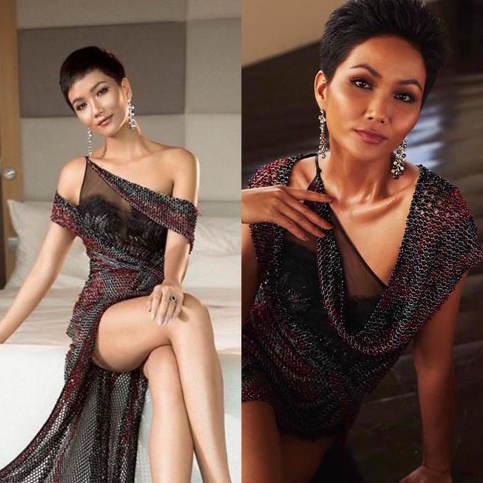 Cụ thể chiếc váy lưới gợi cảm được H'Hen Niê diện trong bộ ảnh trước ngày lên đường với trong khuôn khổ cuộc thi hoàn toàn khác nhau. Kiểu tóc, và phần vai áo trước sau không đồng nhất.