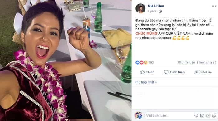 Hoa hậu H'Hen Niê tỏ rõ niềm vui của bản thân mặc dù đang dự tiệc tại Thái Lan.