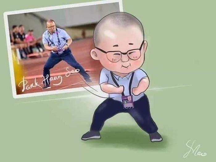 Ảnh chibi của fan hâ mộ tặng cho Park Hang Seo. Cảm ơn ông - người thầy vĩ đại của bóng đá Việt Nam.